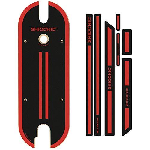 SHIOCHIC - Tabla con Pegatinas - Accesorio Patinete Eléctrico Xiaomi 365 y 1S - Medidas: 63 x 23.8 x 0.9 cm - Black to Black - Personaliza tu Patinete - Permite Apoyar los Pies en Paralelo