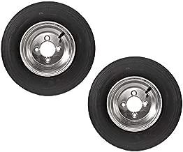 2-Pack Trailer Tires On Galvanized Wheel Rims 480-8 4.80-8 4.80 x 8 Load C 4 Lug