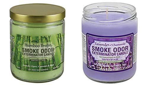 Smoke Odor Exterminator 13 Oz Jar Candle, Bamboo Breeze with 13 Oz Lavender Chamomile