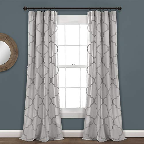 "Lush Decor Light-Gray Avon Chenille Trellis Window Curtain Panel Pair (84"" x 40"")"