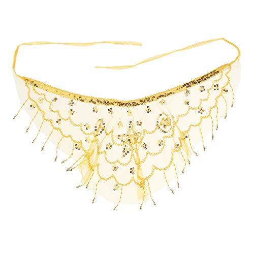 Baoblaze Voile de Visage en Mousseline à Bretelles Ajustables avec Perles de Fleurs pour Lady Belly Dance - Jaune, comme décrit