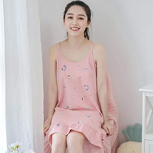 XFLOWR Sommer 100% Baumwolle Cartoon Frauen Sling Nachthemden Sweet Loose Bequem Soft...