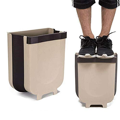Mini Opvouwbare Vuilnisbak, Portable 9L kastdeur Opknoping Kleine Compact Trash Can, Geschikt voor Keuken Kantoor Badkamer Slaapkamer