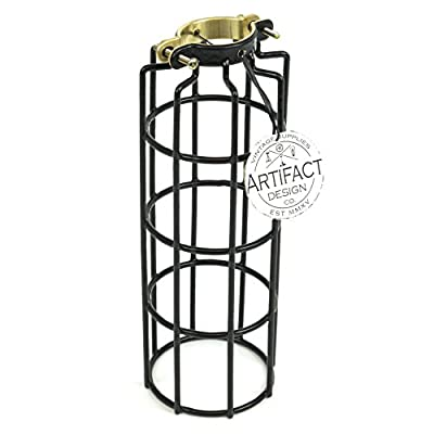 Rustic State Industrial Design Cylinder Metal Wire Light Cage | Lamp Guard for DIY Wall Lighting in Black