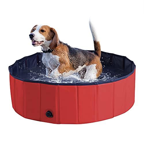 Pawhut - Piscina para Mascotas, Gatos, Perros, Gatos, Piscina, Interior y Exterior, Plegable, Inflable, baño de Verano (Φ100 x 30 cm), Color Rojo