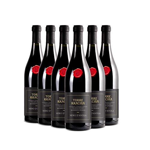 TORRE RRACINA Nero d'Avola Sicilia DOC, Vino Rosso, Ottimo Vino per Carni Arrostite, Grigliate, alla Griglia, Selvaggina e Formaggi a Pasta Dura, 6 x 750 ml, Made in Italy, 13,5% Vol