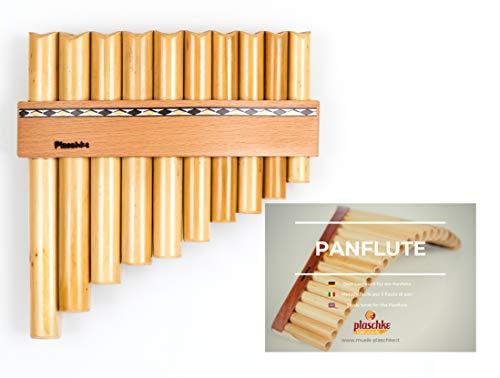 Panflöte aus Bambus, Indianische Flöte, rumänische Bauart mit 10 Tönen/Rohren in C-Dur + LEHRBUCH mit hochwertigen Holzriemen für Anfänger und Fortgeschrittene, handgemacht, handmade von Plaschke Instruments aus Südtirol/Italien