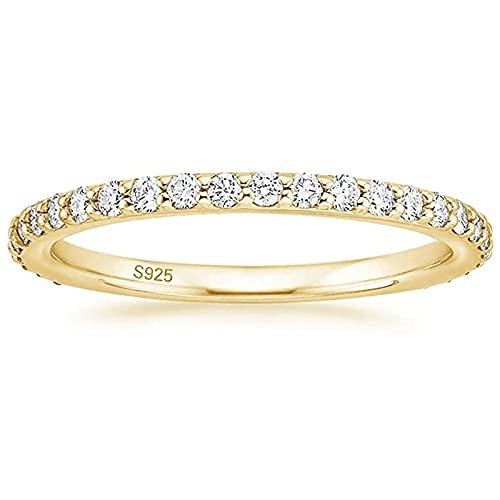 Zakk Eternity Ring Damen Silber 925 Zirkonia Volle Ewigkeitsringe Vorsteckring Schmal Verlobungsringe Eheringe Trauringe Memoire Ringe 2mm Gold Rosegold (Gelbgold,58 (18.5))