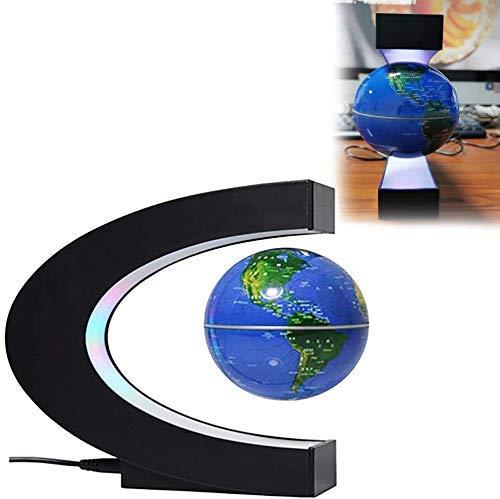 Busirsiz La levitación magnética Globo en Forma de C con Luces LED magnética Suspensión Campo del Mapa del Mundo de Educación del Escritorio del hogar Decoración