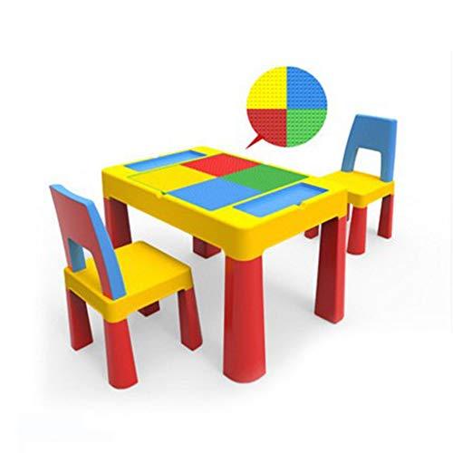 LYN&xxx Aktivität Tisch & Stühle Bricks Mehrzweck Activity Table Set Kinder Gebäude Tisch kompatibel mit Partikeln aus Kunststoff montiert Spielzeug Tisch Kindergarten