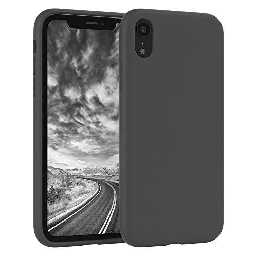 EAZY CASE Premium Silikon Handyhülle kompatibel mit Apple iPhone XR, Slimcover mit Kameraschutz & Innenfutter, Silikonhülle, Schutzhülle, Bumper, Handy Hülle, Hülle, Softcase, Anthrazit