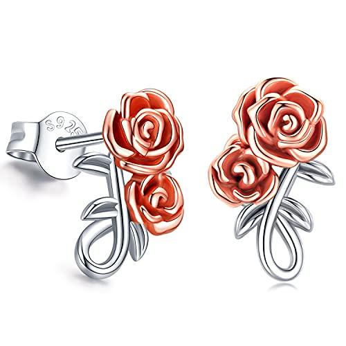 Orecchini con fiore rosa per donna Orecchini pendenti con...