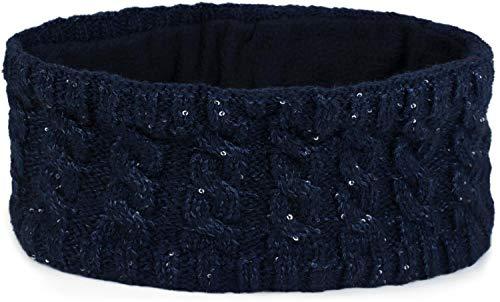 styleBREAKER Damen Strick Stirnband mit Zopfmuster und Pailletten, Fleece Futter, Haarband, Thermo Winter Headband 04026028, Farbe:Dunkelblau