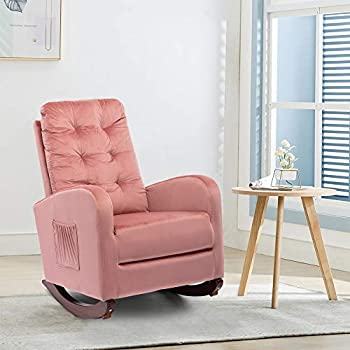 Rocking Accent Chair Tufted Upholstered Luxury Velvet Lounge Chair Glider Rocker Armchair with Side Pocket for Nursery Living Room Bedroom Solid Wood Frame for 300 lbs Strong Support  Pink