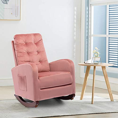 Rocking Luxury Velvet Accent Chair, Tufted Upholstered Lounge Chair, Glider Rocker Armchair with Side Pocket for Nursery, Living Room, Bedroom (Pink)
