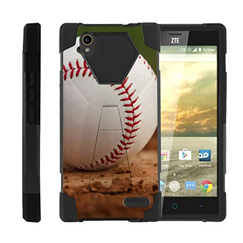 Compatible with ZTE Warp Elite Case | N9518 [Dynamic Shell] Dual Hard Hybrid Cover Resistant Kickstand Silicone Case Sports and Games by TurtleArmor - Baseball Dirt