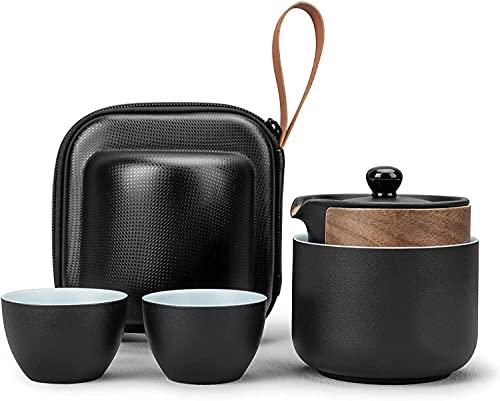 Draagbare kung fu Theeset, keramische theeset, geschikt voor reisvervoer of thuiskantoor, inclusief een theepot en drie…