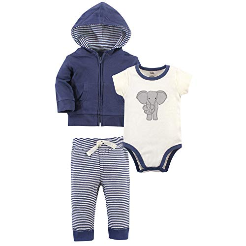 Touched by Nature Baby Organic Cotton Hoodie, Bodysuit or Tee Top, and Pant, Stripe Elephant, 3-6 Months