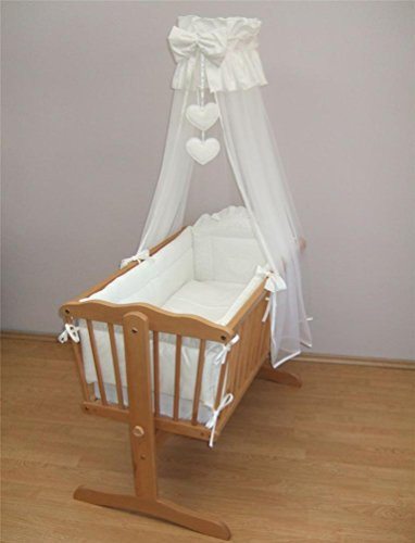10 Piece Baby Crib Bedding Set 90x40cm Fits Swinging Cradle - Broderie Anglaise Heart White