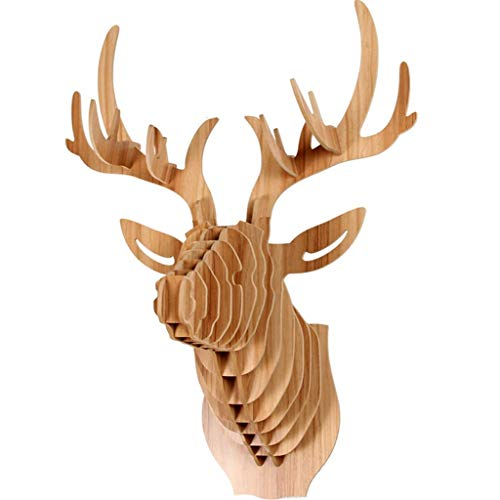 DAGCOT Deer Head Wall Mount, 3D Puzzle Model Animal Head Sculpture Ornament, Modern Pendant Creative Wall Decoration for Living Room, Office, Home, Bedroom, Gallery Wall