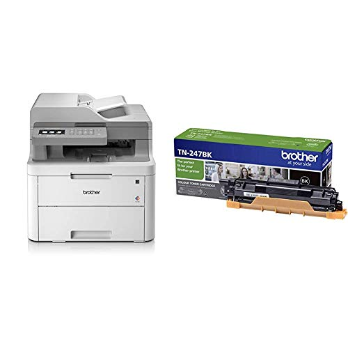Brother DCP-L3550CDW - Impresora multifunción (WiFi, USB 2.0, 512 MB, 800 MHz, 18 ppm, 400 W) + TN247BK - Cartucho de tóner Negro Original