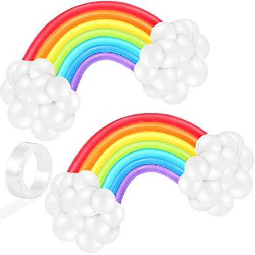 80 Globos de Arcoíris Globos de Látex de Colores Surtidos Globos en Forma de Nube de Arcoíris para Decoraciones de Fiesta de Cumpleaños Baby Shower Boda Compromiso Aniversario