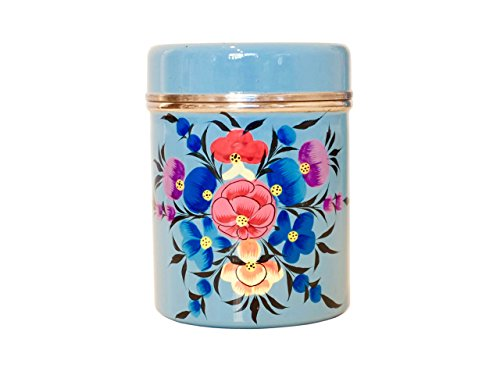 Vintage shabby chic style beautiful enamel coffee tin/tea tin/tea canister/kitchen storage holder with lid (Blue)