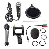 Micrófono de condensador de grabación Micrófono de teléfono móvil Micrófono de 3,5 mm Jack para computadora PC Karaoke Mic talla única Negro
