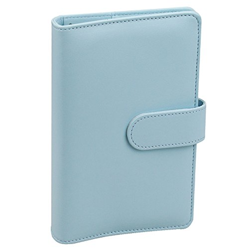 A6 PU Leather Notebook Binder,Refillable 6 Round Ring Binder Cover for A6 Filler Paper,Macaron Notebook Personal Planner Binder with Magnetic Buckle,Mint Blue
