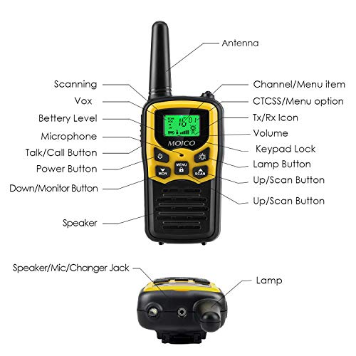 418VkFcqmRL - Walkie Talkies Long Range for Adults Two-Way Radios Up to 5 Miles in Open Fields 22 Channels FRS/GMRS VOX Scan LCD Display with LED Flashlight Ideal for Field Survival Biking Hiking Camping 4 Pack