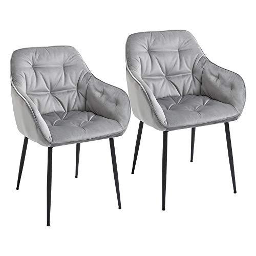 homcom Set di 2 Sedie Moderne Imbottite in Stile Nordico Seduta in Velluto con Impunture, 59.5x55.5x83.5cm Grigio