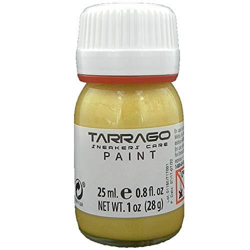 Tarrago   Sneakers Paint 25 ml con Pincel y Esponja   Colores Metalizados   Pintura para Sneakers y Zapatillas Deportivas de Cuero, Cuero Sintético y Lona (Oro Puro 503)