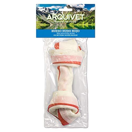 Arquivet Hueso nudo rojo - Snacks piel para perros - 11 cm (Bolsa 1 ud.)