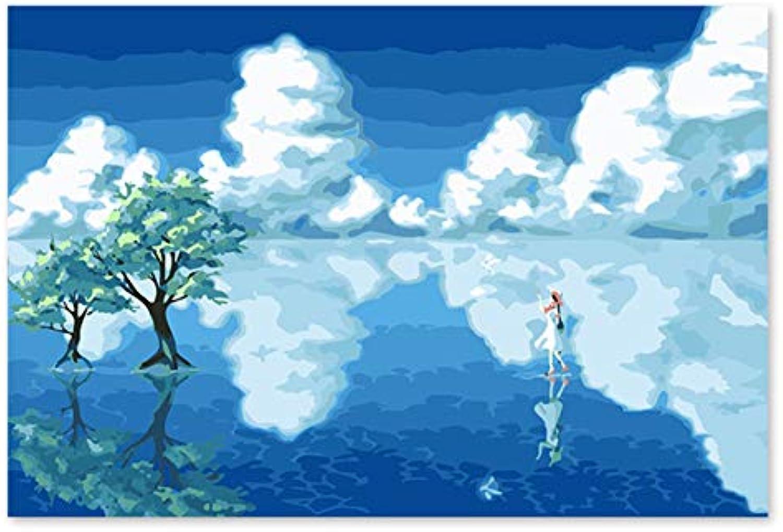 Superlucky Digital-Malerei der Seemädchen Seemädchen Seemädchen frisch, schön und breite Reflexionsmalereien durch Zahlenlandschaftsfarben durch numbe 40x50cm mit Rahmen B07K6KZ79X | Jeder beschriebene Artikel ist verfügbar  57197f