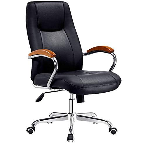Inicio Silla de oficina Cuero silla de oficina con reposabrazos giratoria Silla ejecutiva Negro Telesilla Silla de oficina Silla giratoria Ocio Silla de juegos ( Color : Black , Size : 63X58X31CM )