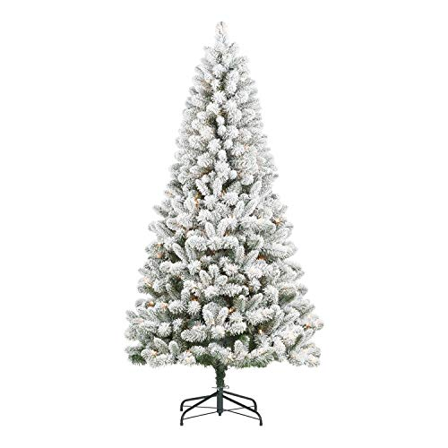 Holiday Time' Pre-Lit Flocked Frisco Pine Christmas Tree, 6.5', Clear with Exclusive 3-Outlet X-Mass 11.5ft. Indoor Extension Cord - Bundle