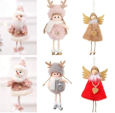 Baring 6 Pieces Angel Doll Hanging Pendant for Christmas Decoration, Elves Angel Crafts for Home Party Christmas Tree Ornaments Set