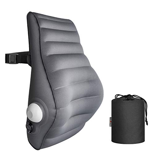 BestMaxs Lumbar Pillow Back Cushion Inflatable - Lumbar Support for Back Rest Office Chair Car Seat Travel and Home Ergonomic Design Lower Back Pain Relief