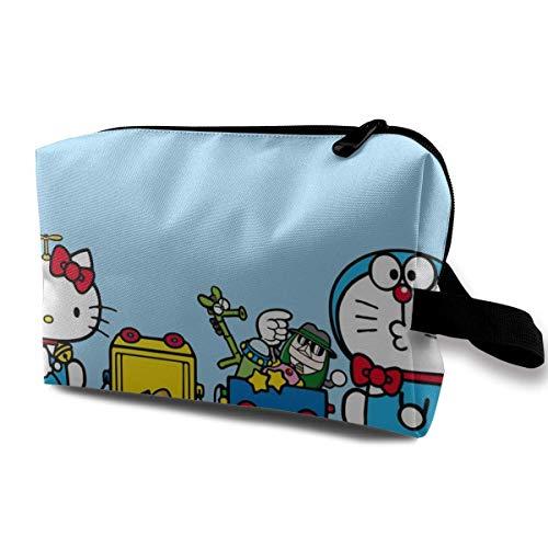 Doraemon y Hello Kitty Bolsa de maquillaje de viaje con pulsera, bolsa de aseo portátil con cremallera para niñas y mujeres