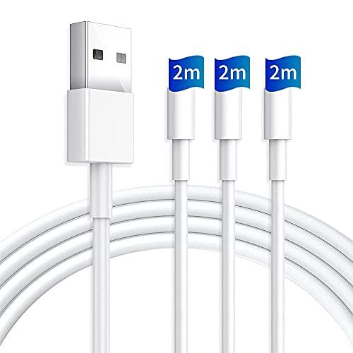 【2021新発売】iphone 充電ケーブル 2M ケーブル ライトニングケーブル iphone 充電コード アイホン充電ケーブル (3本セット2M*3本) 高速データ転送 高耐久コネクタ 断線防止 iPhone/iPad/iPod各機種対応可能 (オフホワイト)