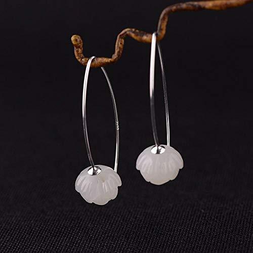 S925 Silber DamenOhrringeOhrsteckerOhrhängerTropfenOhrlinie, Silber Weiblichen Einfache Temperament Und Tian Yu Weißer Jade Lotus Ohrringe Ohrringe Silber Nadel Für Das Geschenk Eines