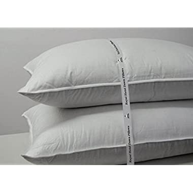 Royal Hotel's Goose Down Pillow - 500 Thread Count Cotton Shell, Standard / Queen Size, Firm, Set of 2