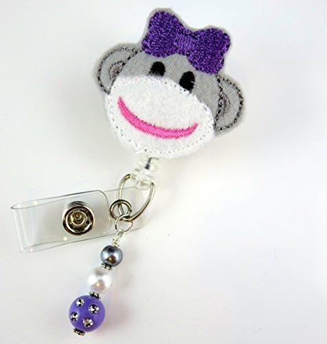 Cute Sock Monkey- Nurse Badge Reel - Retractable ID Badge Holder - Nurse Badge - Badge Clip - Badge Reels - Pediatric - RN - Name Badge Holder