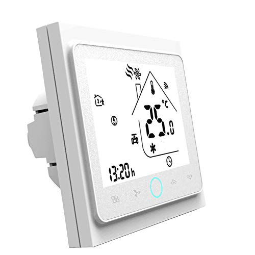 Qiumi Termostato Wifi, controlador de temperatura, aire acondicionado inteligente, controlador de temperatura programable, con pantalla LCD de 4 tubos, funciona con Alexa Página principal de Google