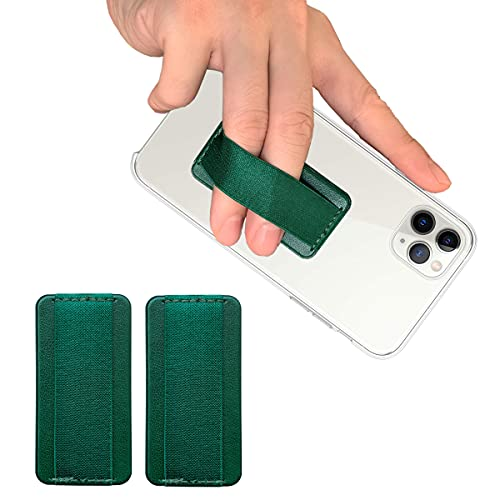 WUOJI - Finger Strap Phone Holder - Ultra Thin Anti-Slip Universal Cell Phone Grips Band Holder for Back of Phone - 2Pack;Emerald