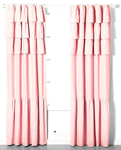 "Pillowfort Pink Ruffle Blackout Curtain Panel 94"" X 42"