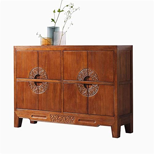 Sideboards Kitchen Dining Side Cabinet Tea Water Cabinet Wine Cabinet Simple Dining Room Solid Wood Side Cabinet Living Room Storage Cabinet for Living Room (Color : Brown, Size : 140x40x100cm)