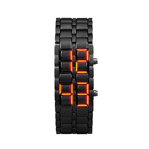 JHHXW Armbanduhr Mode Luminous Waterproof Lava Watch Kreative Paar Armband LED Elektronische Uhr Männer und Frauen,Black/redlight,Man