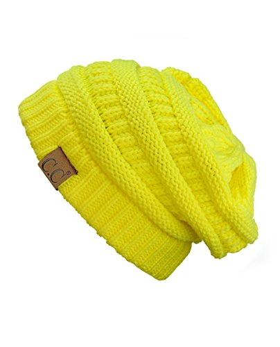 C.C Trendy Warm Chunky Soft Stretch Cable Knit Beanie Skully, Neon Yellow