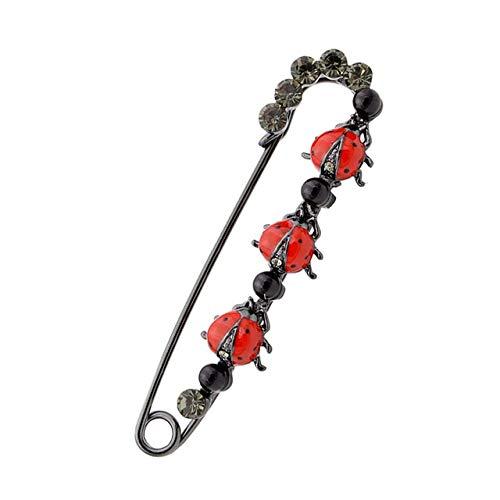 Broches de diamantes de imitación grandes para mujer, broche de suéter de Vintgae, diseño de moda, broche de boda-escarabajo rojo